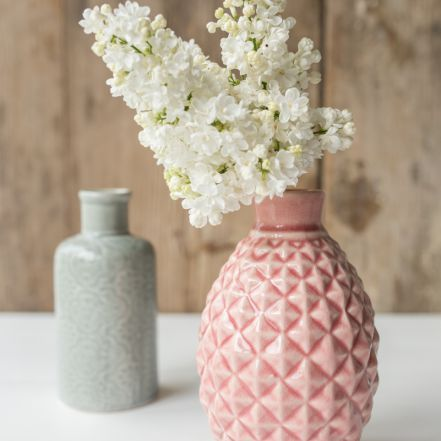Vasen Set in Grau und Rosa aus Keramik im Plissee Look als Deko