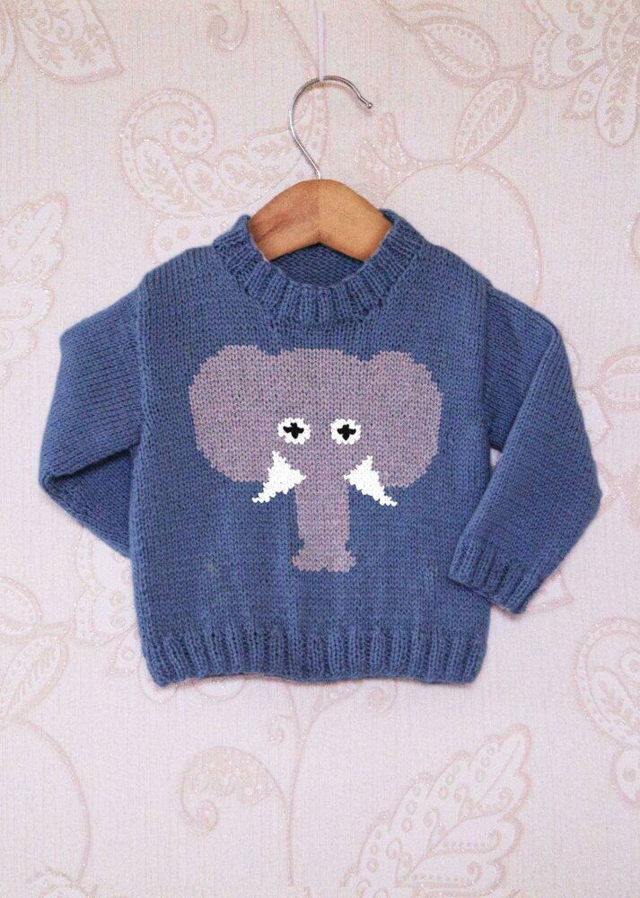Intarsia - Elephant Face Chart & Childrens Sweater Knitting pattern by Instarsia #children'ssweaters