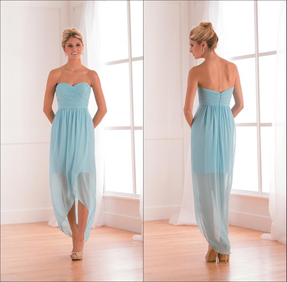 jasmine high low short bridesmaid dresses light blue chiffon