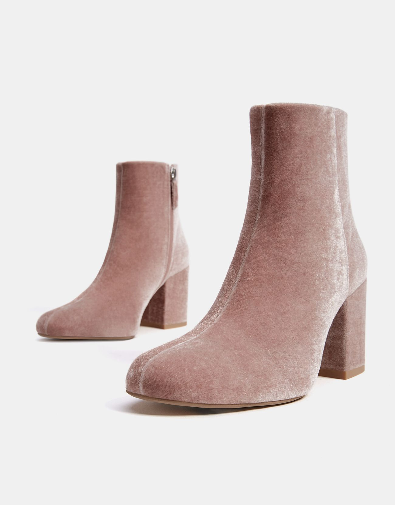 3000321533b Mid-heel velvet ankle boots in Pink. Discover this and many more items in  Bershka with new products every week