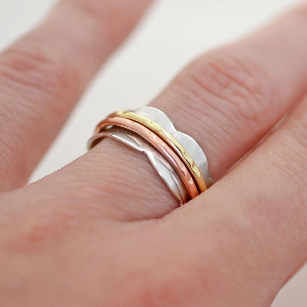 2fe22f667ec04b Mixed Metal Scalloped Spinning Ring   Spinning Rings   Spinner rings ...