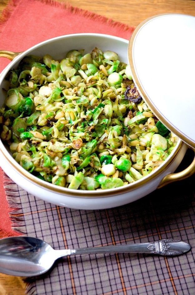 Brussels Sprouts with Pinenuts and Parmesan | Community Post: 26 Mouth-Watering Thanksgiving Side Dishes That Are Guaranteed To Make You Forget The Turkey!