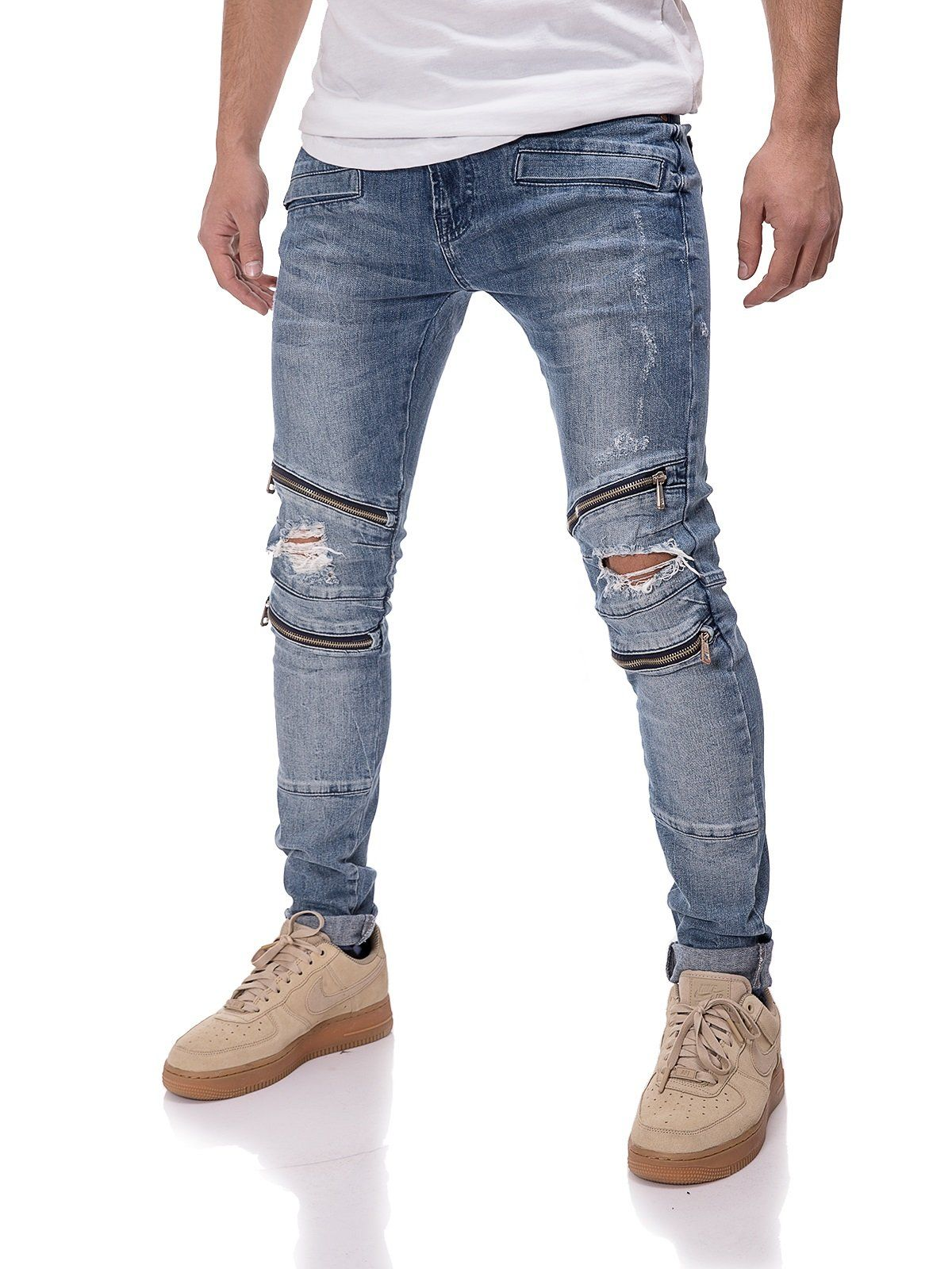 c0151d3cad7a 2Y Men Slim Fit Knee Ripped Zippers Jeans - Blue 3623 in 2019 ...