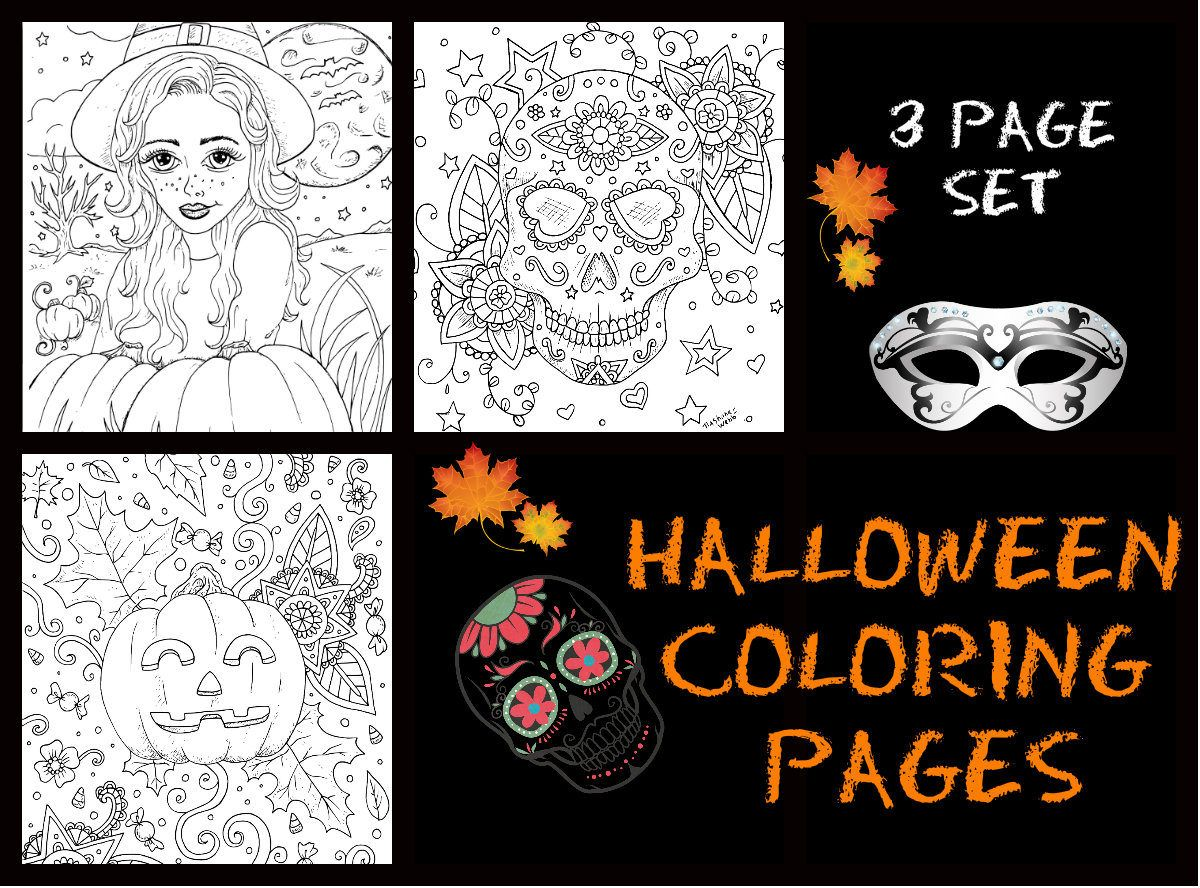 Adult coloring ,Halloween,3 page pdf download,coloring pages by ...