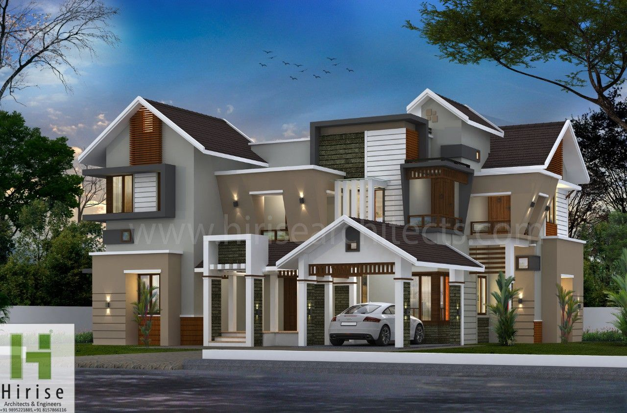 Pin By Hirise Architects On Ideas For The House House Outside Design Kerala House Design Modern House Facades