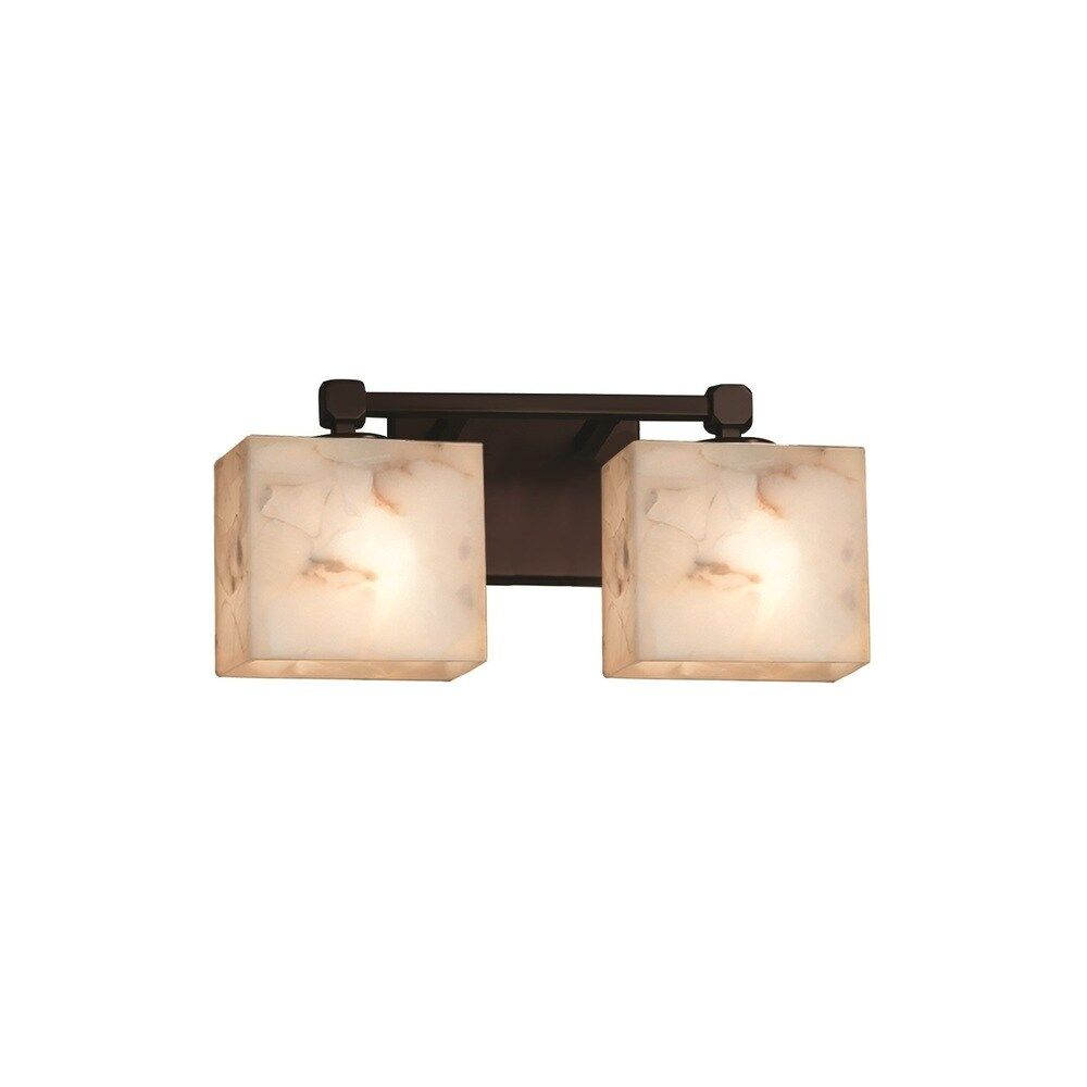 Photo of Justice Design Group Alabaster Rocks Tetra 2-light Dark Bronze Bath Bar, Rectangle Shade