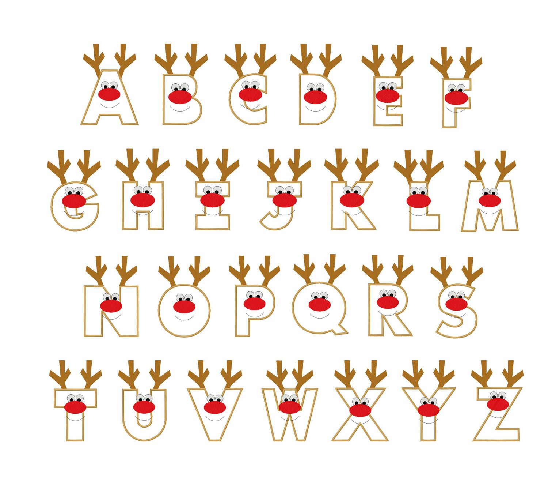 Christmas reindeer letters applique designs instant - Alphabet noel ...