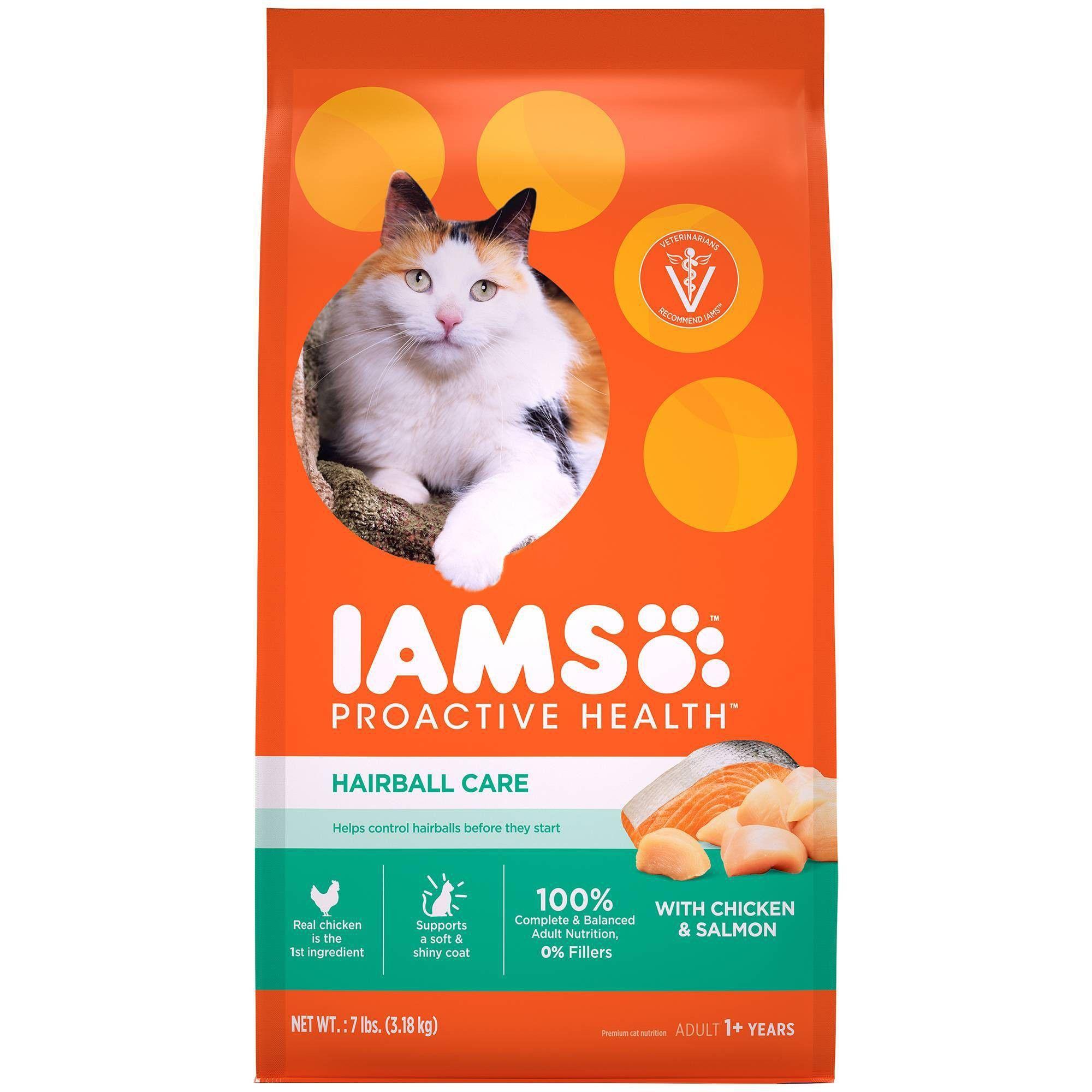 Iams Proactive Health Hairball Care Chicken Salmon Dry Cat Food 7lbs Cat Food Dry Cat Food Cat Care