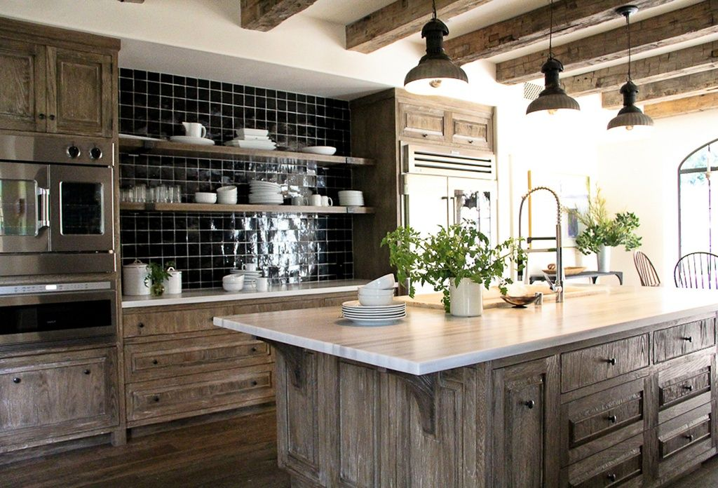 Rustic Kitchen with Kitchen island, Barn Light Electric Laramie