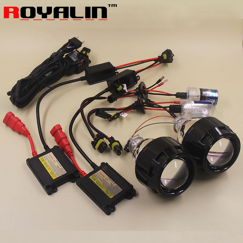 Royalin 2 5 Mini Bi Xenon Hid Projector Headlights Lens Kit Ac H1 Bulbs Slim Ballast Relay Harness Controller For Hidden Projector Projector Headlights Diy Car