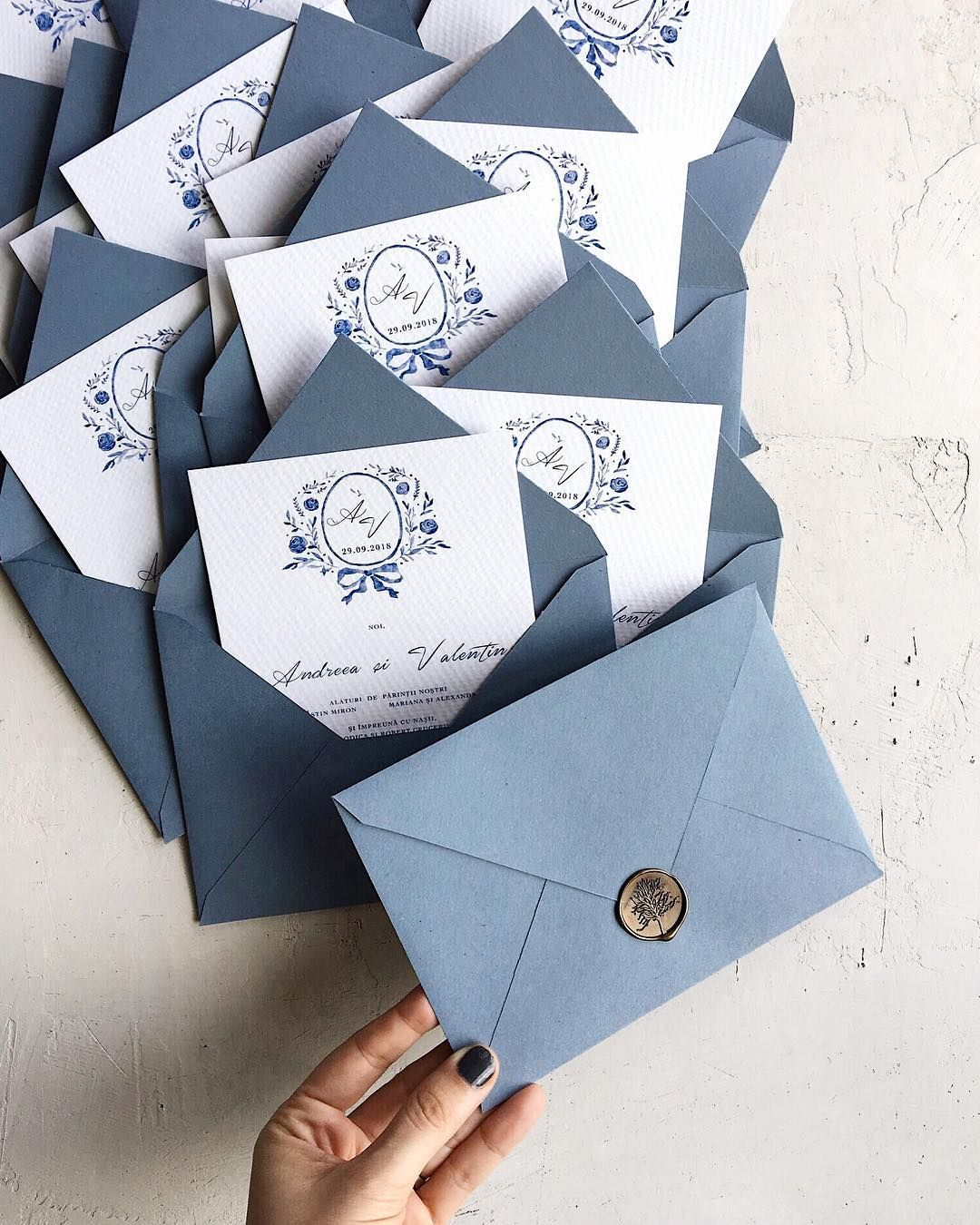 Blue Watercolor Wedding Invitation With Blue Handmade Envelopes And And Bronze Fun Wedding Invitations Blue Wedding Invitations Watercolor Wedding Invitations
