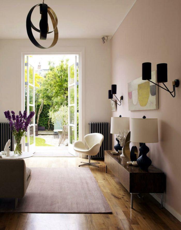 teppich wohnzimmer hellrosa elegant moderner sessel Wohnzimmer - moderne farbgestaltung wohnzimmer