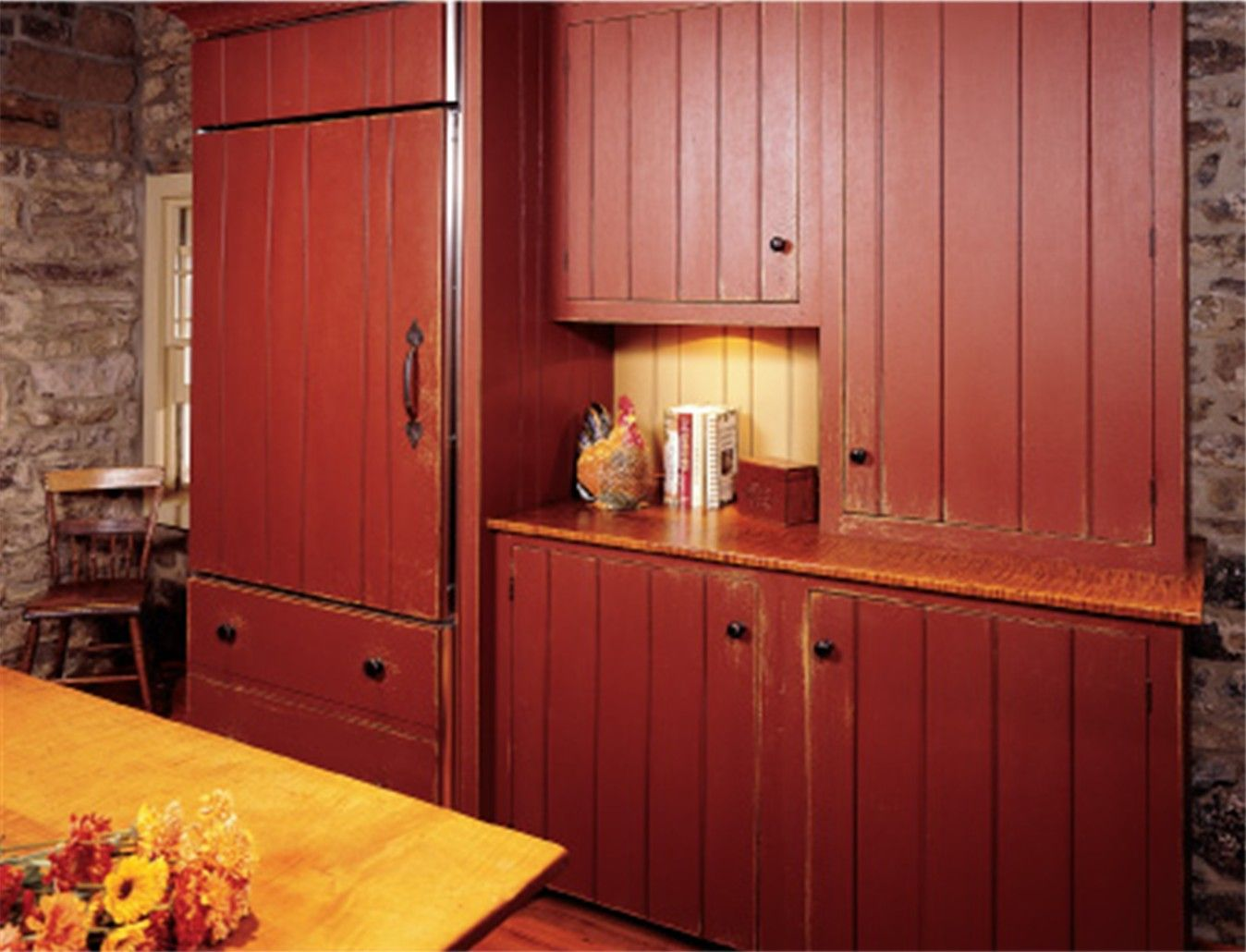Refrigerator Disguised As Cabinetry Love Primitive Kitchen Rustic Kitchen Colonial Kitchen