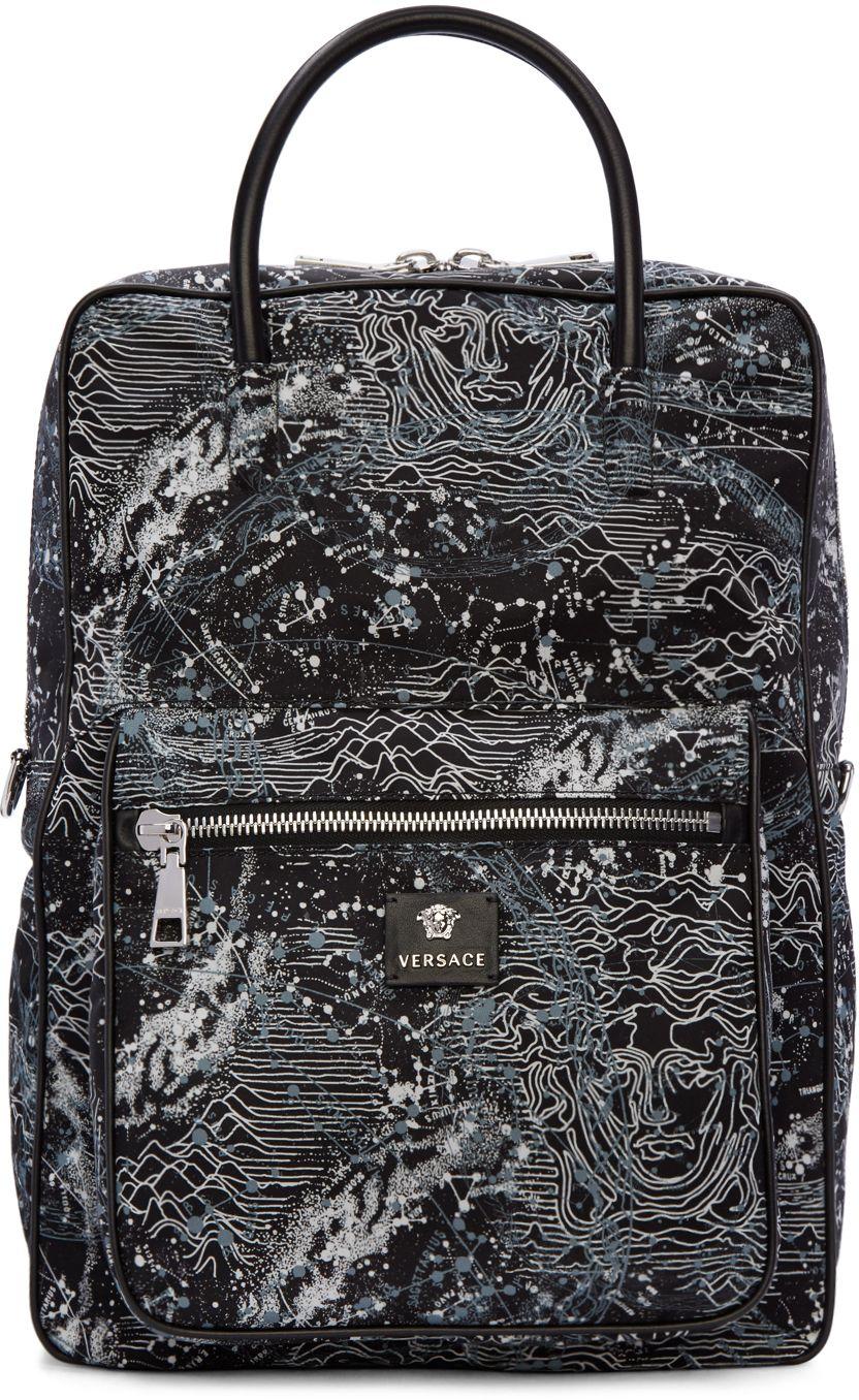 22cfe658b30 Versace Black Constellations Print Backpack   Bags   Pinterest ...