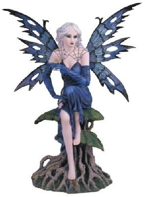 Blue Fairy Sitting On Tree Collectible