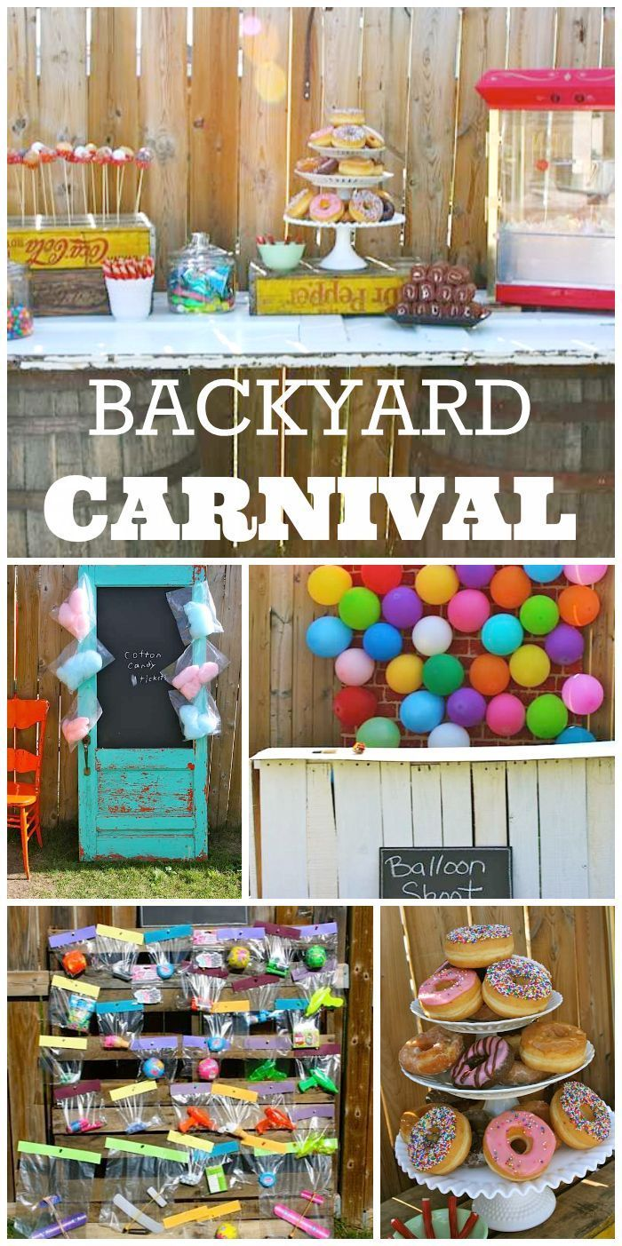 What A Fun Backyard Carnival Boy Birthday Party With Cotton Candy Donut Holes On Stick And Activities
