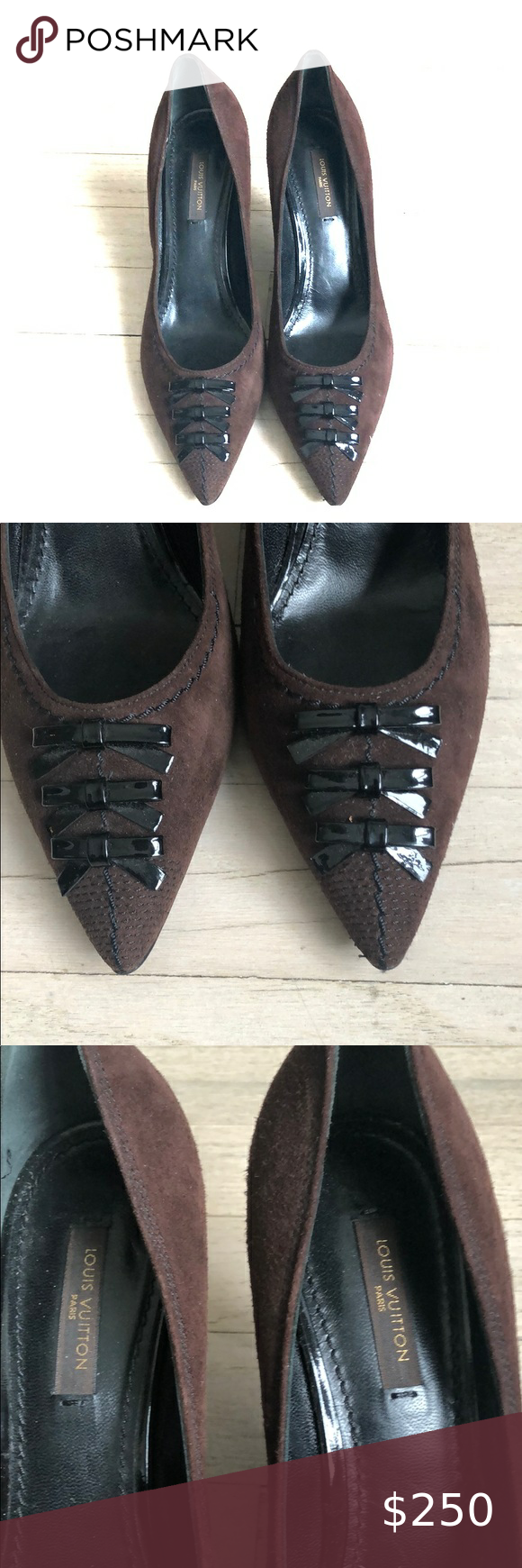 """Louis Vuitton brown saude heels 37.5 LV brown suede 2"""" heel with 3 patent leather bows . Stitch detail. Never worn.  Lb embossed on back of shiny black heel Louis Vuitton Shoes Heels #brown #Heel #Heels #leat #Louis #louis vuitton shoe heels black #Patent #saude #SUEDE #Vuitton"""