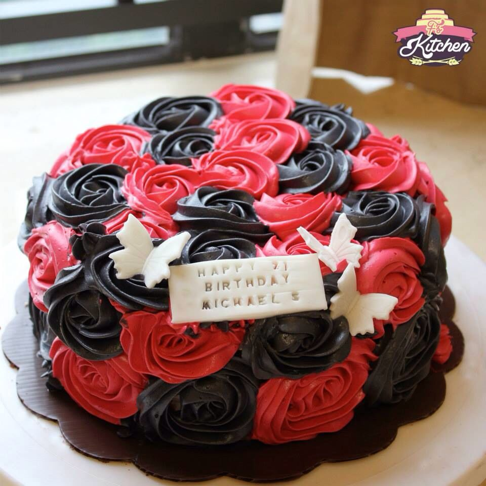 Gorgeous Black And Red Rosette Cake Graduation Cakes Red