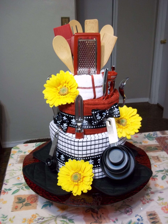 Dish Towel Cake I made for a Bridal Shower Craft Ideas