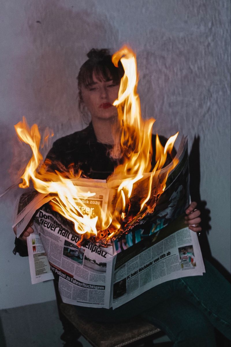 Burning Newspaper Photoshoot Concept Fire Photography Photo