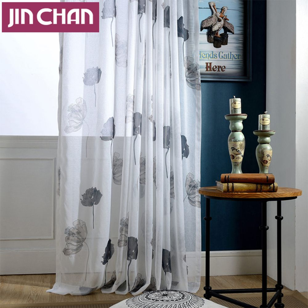Floral Printed Polyester Window Tulle Curtains For Living Room Sheer ...