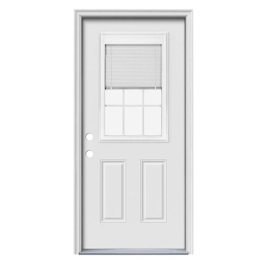 Therma Tru Benchmark Doors 32 In X 80 In Half Lite Blinds Between The Glass Right Hand Inswing Ready To Paint Steel Prehung Ent In 2020 Entry Doors Single Doors Blinds