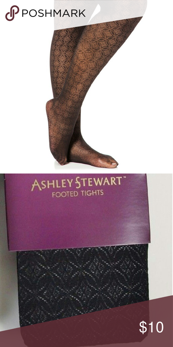 NWT 1X 2X Ashley Stewart Plus Footed Tights BROWN PEACH New