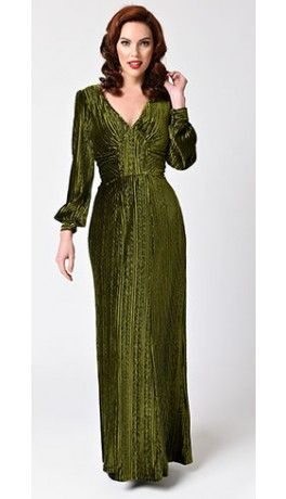 7112bfc081f4 Voodoo Vixen Olive Green Velvet Long Sleeve Maxi Dress | A Dress For ...
