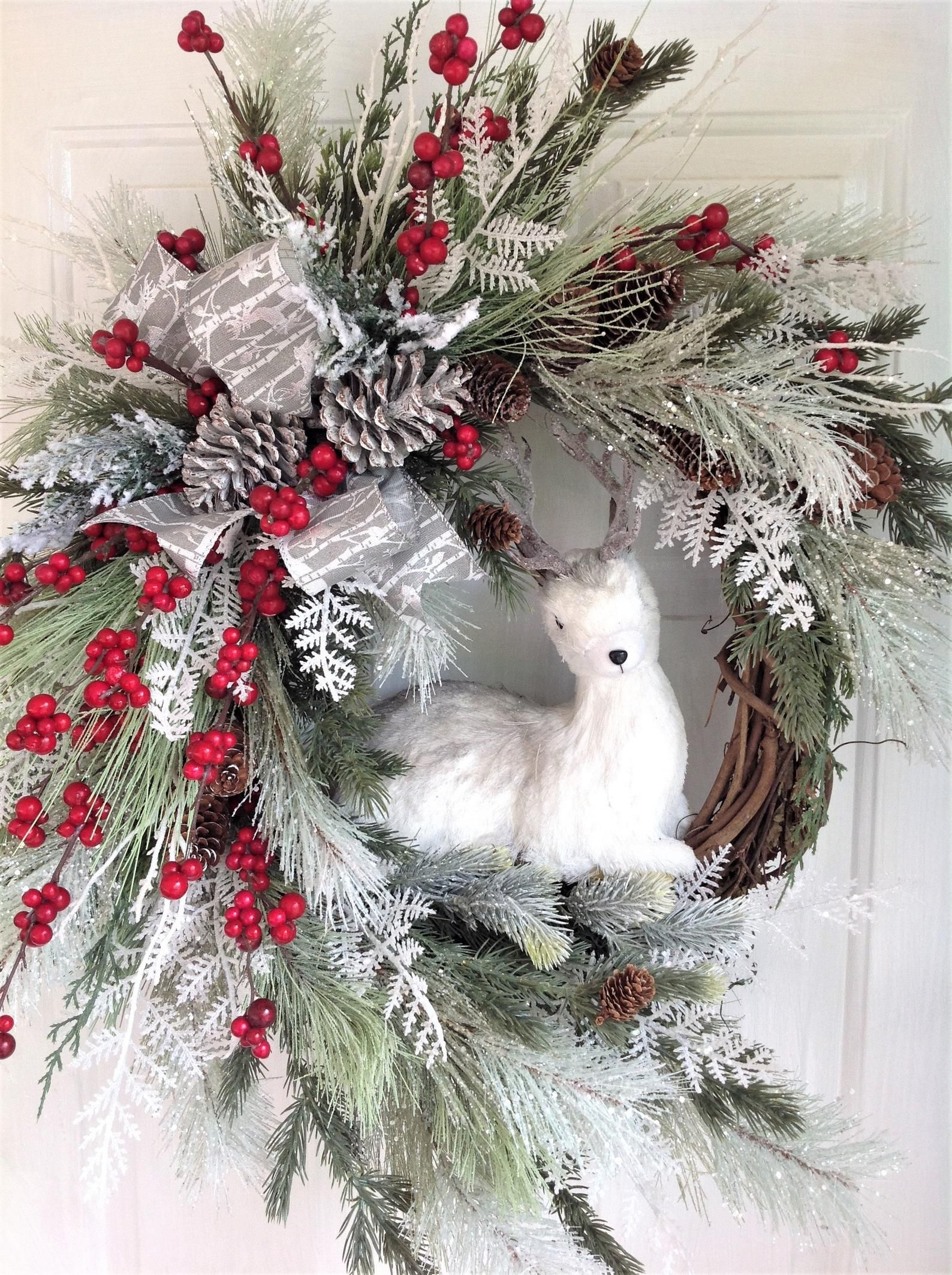 Photo of Christmas Wreath For Front Door, Winter Door Wreath, Country Christmas Wreath With Deer, Woodland Winter Wreath, Winter Wreath With Deer