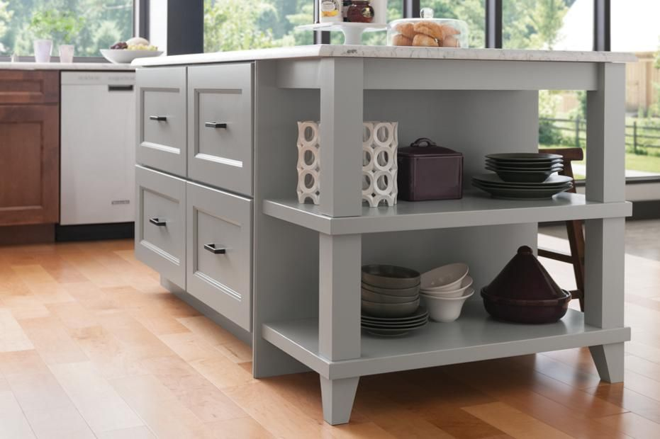 Island With Drawers And Open End Shelf Unit With Decorative Legs