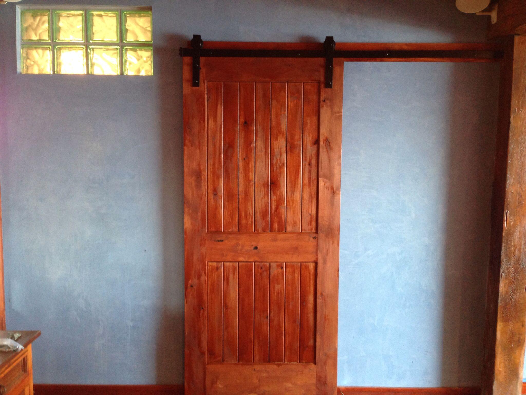 Bathroom sliding barn door American clay wall - wooden ...