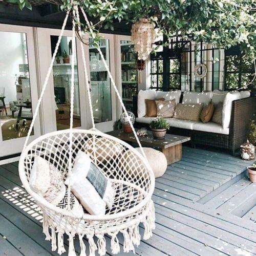 Modern Hanging Indoor or Outdoor Nordic Style Handmade Cotton Hanging Chair – #C…