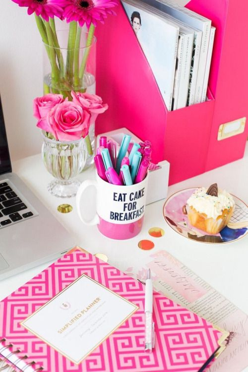 Pink Office Desk. Collegegirlwithpearls:kate Spade Mug + Cute Pink Planner Office  Desk R