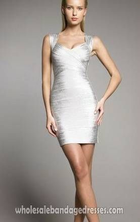Luxury foil herve leger bandage dress Silver v neck glitter cocktail dresses  online. herve leger wholesale from China for cheap. fast shipping worl…