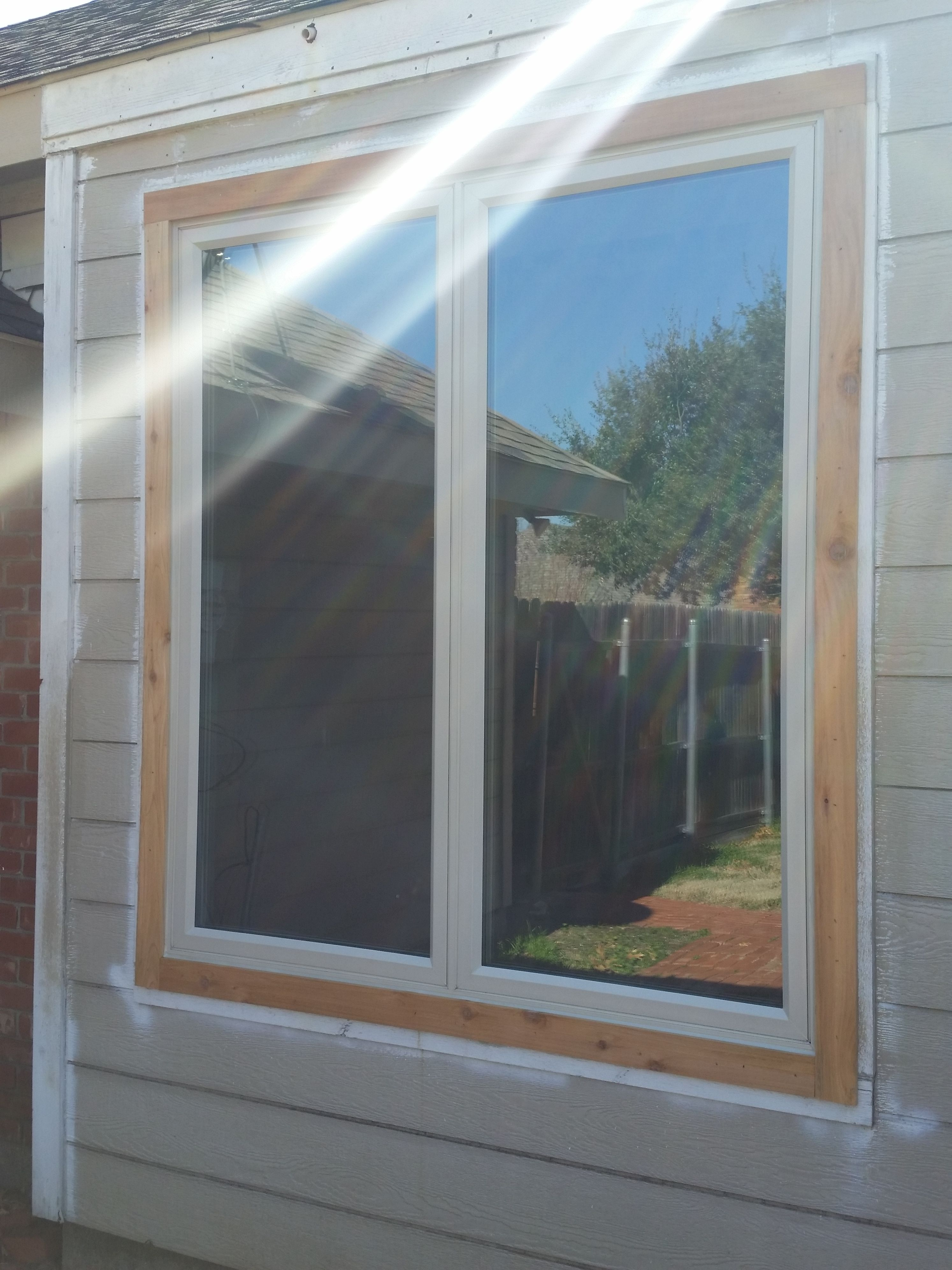 Twin Casement Windows With New Cedar Exterior Trim Vinyl