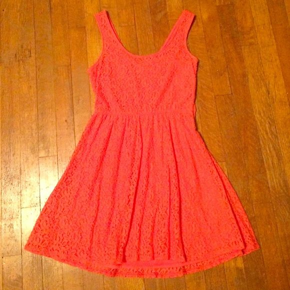 coral pink for and flare lace dress coral pink // fit and flare // side zipper // fully lined Mossimo Supply Co Dresses