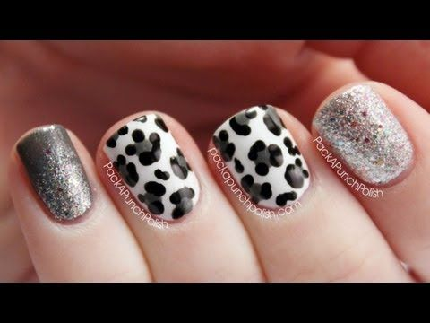 Snow Leopard Glitter Nail Art Tutorial Naughtynails For