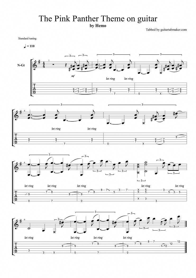 The Pink Panther Theme Fingerstyle Guitar Tab Pdf Guitar