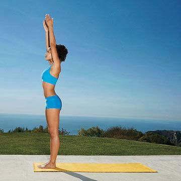 mountain pose stand tall with feet together shoulders