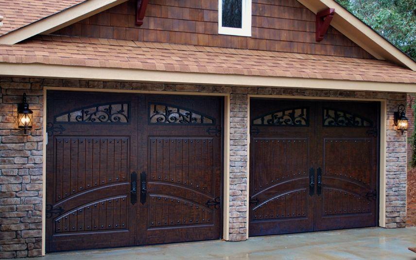 2 Single Car Garage Doors Finished In Rustic Distressed Mahogany Masterpiecedoors