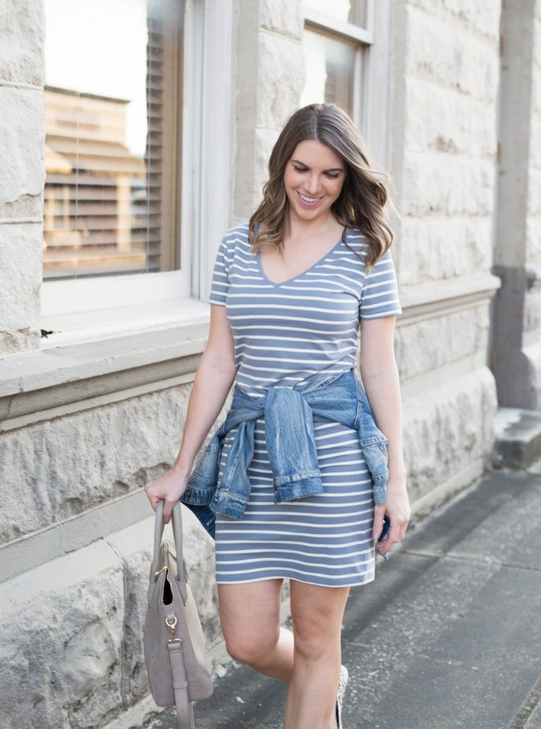 fef80f239d Striped T-Shirt Dress With Denim Jacket  Printed Flat Shoes  Fall  Transition Outfit  Fall Outfit  Easy Outfit  Gray Tote  Sole Society  How  to Style a ...