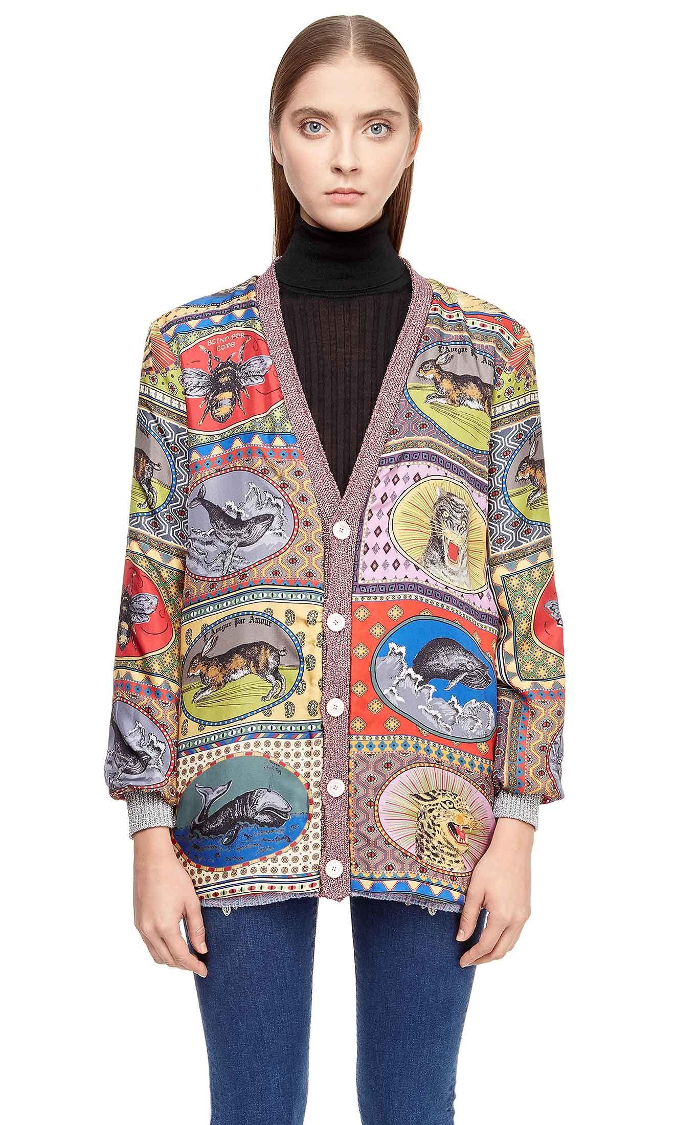 Купить Двусторонний шерстяной кардиган Gucci 478202 217 9H0 для женщин ,  цвет красный в интернет c3b82814828