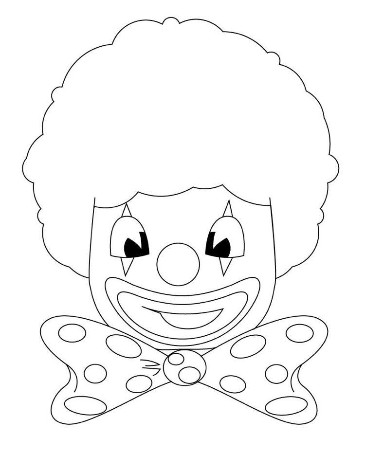 clown gesicht ausmalbild kleinkinder children print carnival vorlagen schablonen. Black Bedroom Furniture Sets. Home Design Ideas