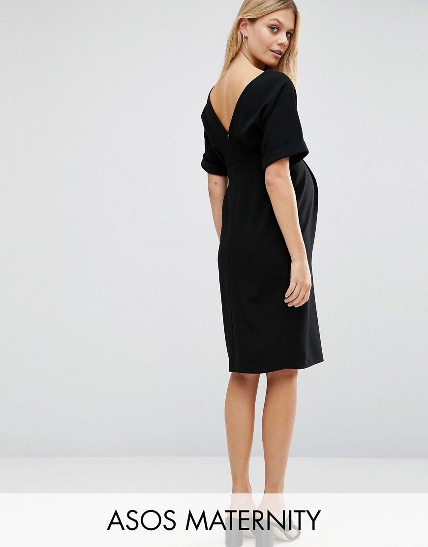 a3c0a25b523 ASOS Maternity Smart Woven Dress With V Back - Black