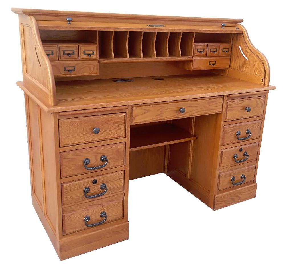 Wooden Roll Top Desk Organizer Vintage Office Decor Gift For Writer Vintage Office Decor Desk Organization Vintage Desk