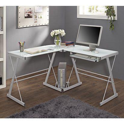 Glass Corner L Shaped Desk, White Glass Computer Desk