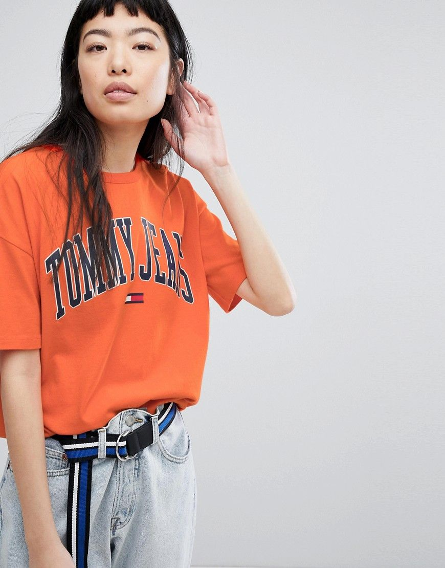f95e4a31 TOMMY JEANS COLLEGIATE LOGO T-SHIRT - ORANGE. #tommyjeans #cloth ...
