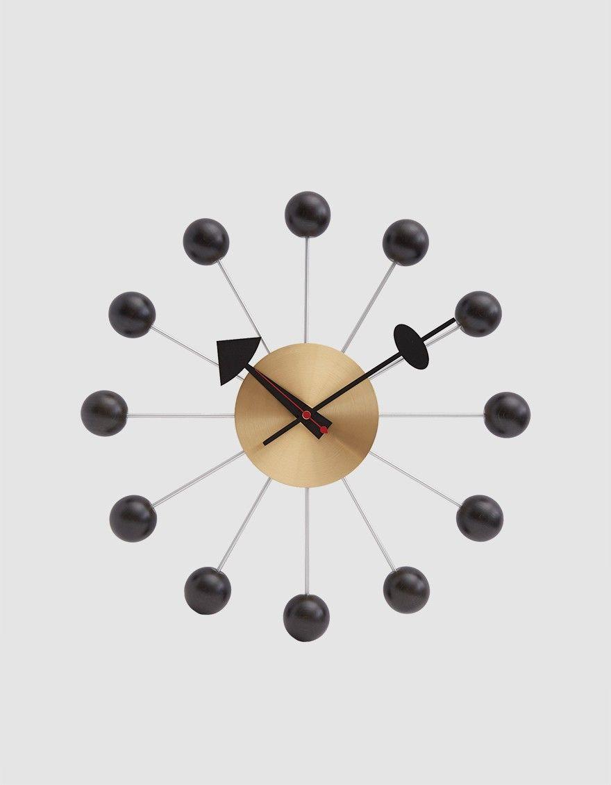 Vitra George Nelson Ball Clock In Black Brass Nelson Ball Clock George Nelson Clocks George Nelson