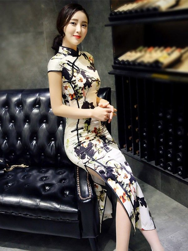 Beige Ankle-length Qipao / Cheongsam Prom Dress with Split