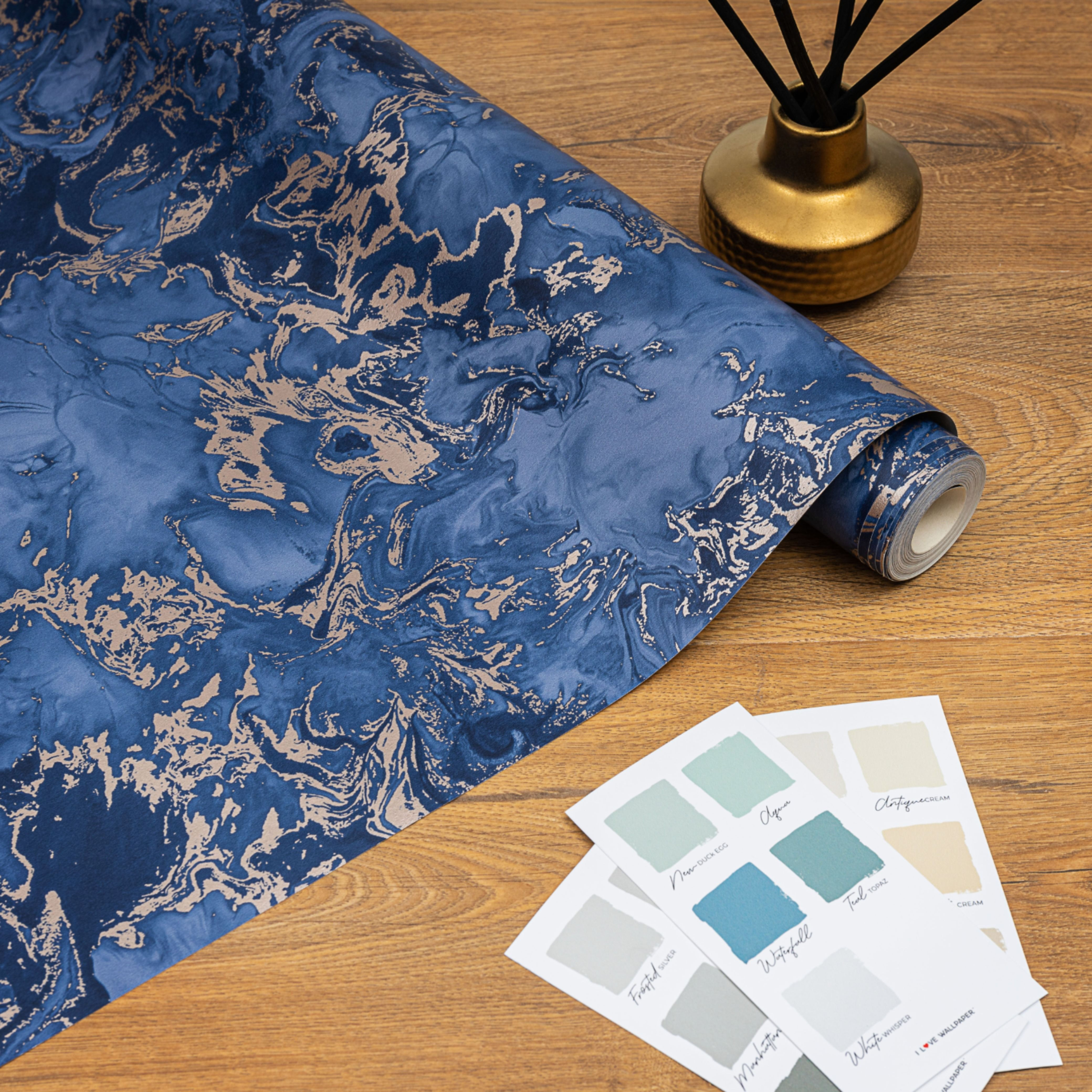 Liquid Marble Wallpaper Blue Gold in 2020 Blue gold